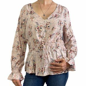 MAURICES Light Pink Floral Peplum Peasant Top M